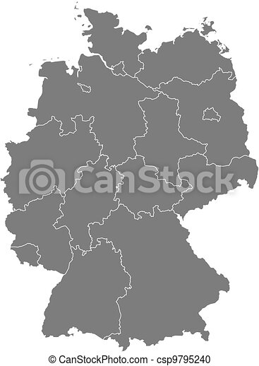 Political Map Of Germany With The Several States Vector Clipart - Germany political map