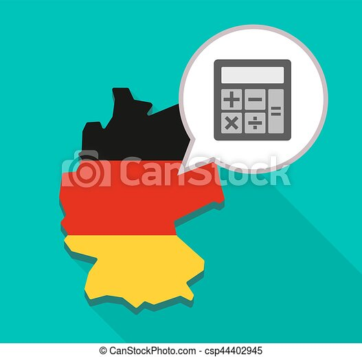 map of germany with a calculator illustration of a long shadow map