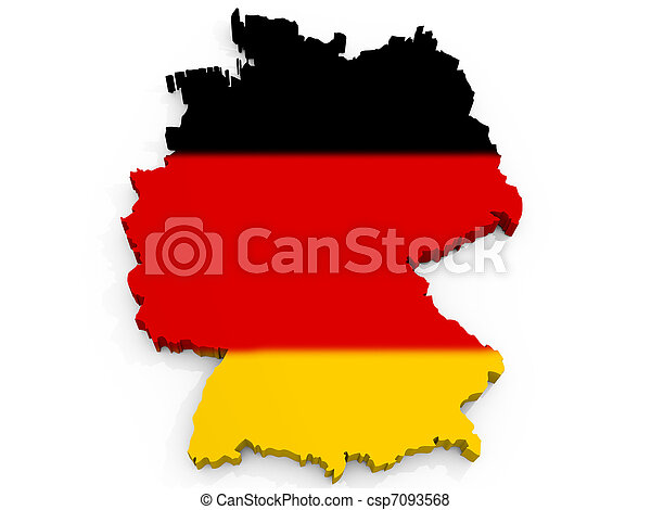Map of Germany with flag Federal Republic of Germany - csp7093568