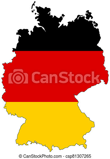Map of Germany with flag - csp81307265