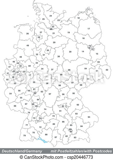 Vectors Illustration Of Map Of Germany With Zip Codes In White - Germany map eps
