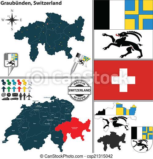 Map of Graubunden, Switzerland - csp21315042