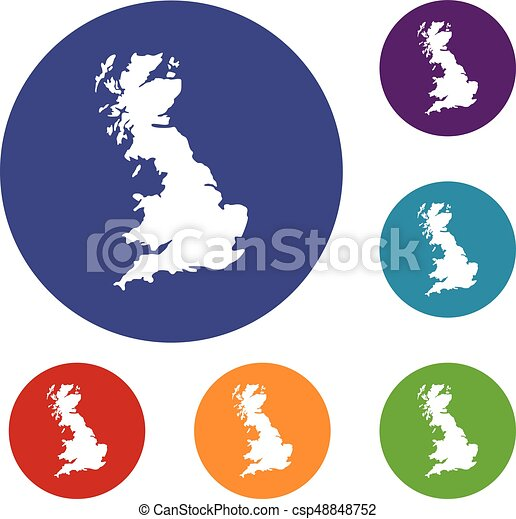 map of great britain icons set in flat circle reb blue and green