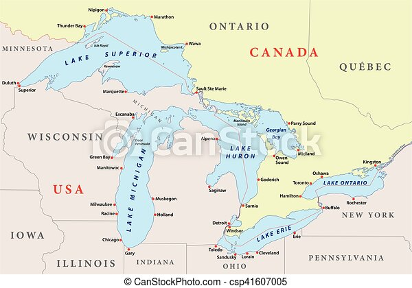 map of great lakes - csp41607005