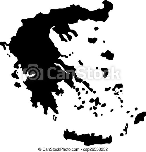 Map of greece. Silhouette maps european country of greece.