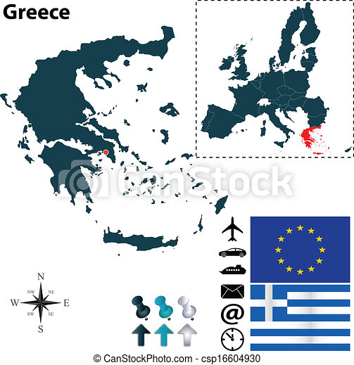 Map of Greece with European Union - csp16604930