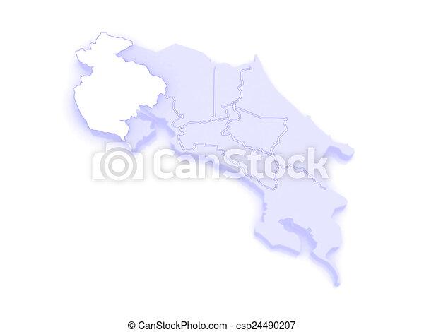 Map of guanacaste. costa rica. 3d.
