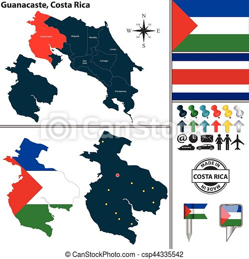Map of guanacaste, costa rica. Vector map of province guanacaste ...