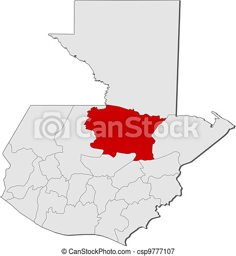 Map of Guatemala, Alta Verapaz highlighted Departments Map Of Guatemala on map of france departments, guatemalan departments, map de guatemala, map of georgia departments, map of mexico and belize, map of colombia departments,