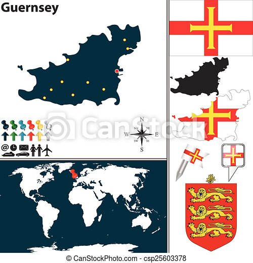 Vector map of guernsey island with coat of arms and location