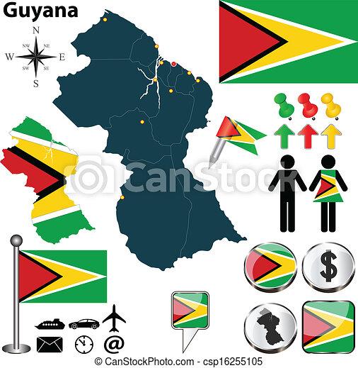 Map of Guyana - csp16255105