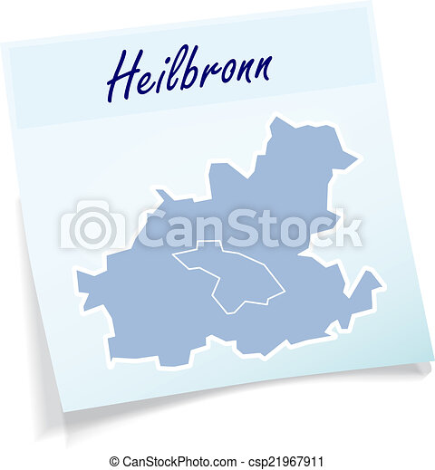 Map of heilbronn as sticky note in blue vector clip art Search