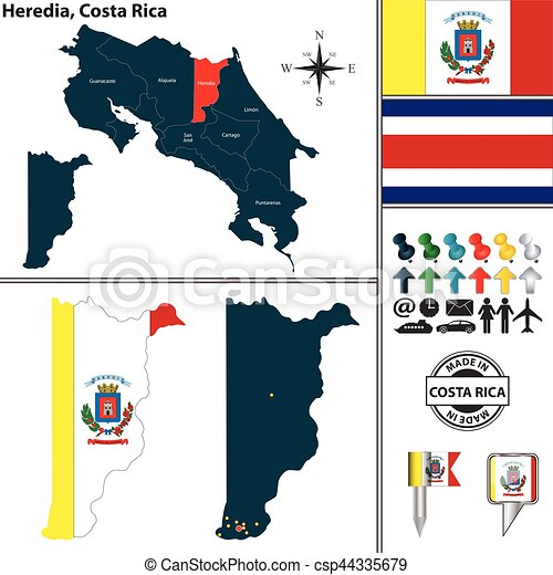 Map of heredia, costa rica. Vector map of province heredia with flag ...