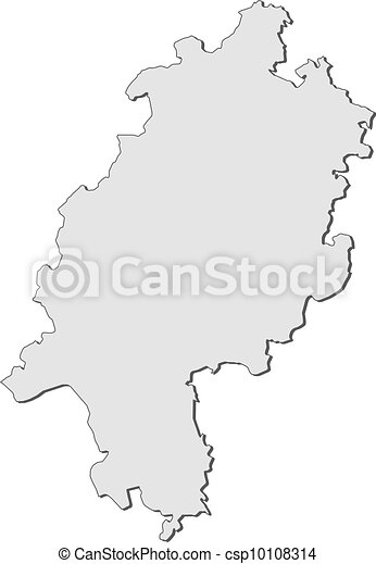 Map of hesse germany Map of the state hesse in germany vector
