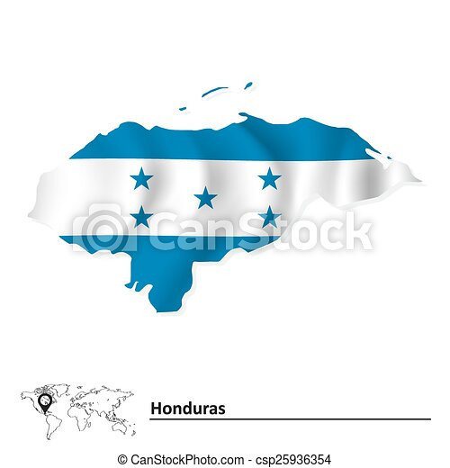 Map of Honduras with flag - csp25936354
