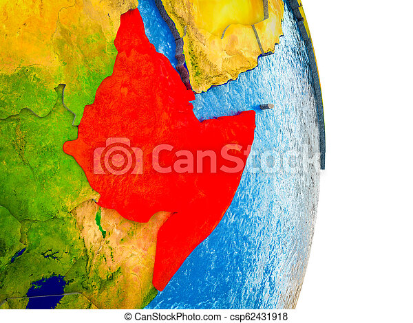 Map of Horn of Africa on 3D Earth - csp62431918