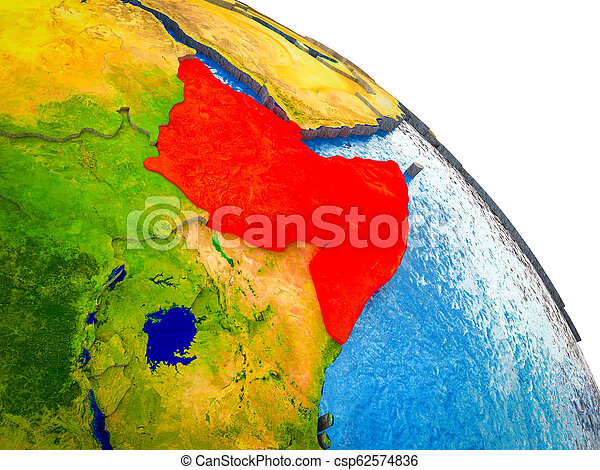 Map of Horn of Africa on 3D Earth - csp62574836