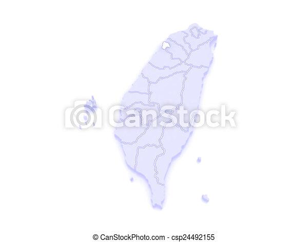 Map of hsinchu city. taiwan. 3d.