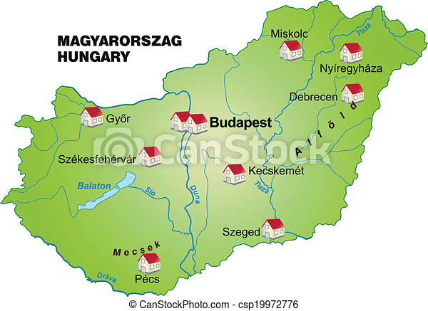 Map of hungary as an infographic in green vectors illustration