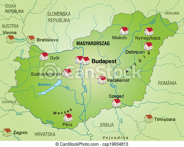Map of hungary as an infographic in green vector clip art Search