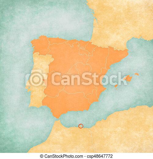 Melilla Spain Map.Map Of Iberian Peninsula Melilla Melilla Spain On The Map Of