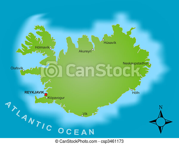 Map Of Iceland A Stylized Map Of Iceland Showing Different Big