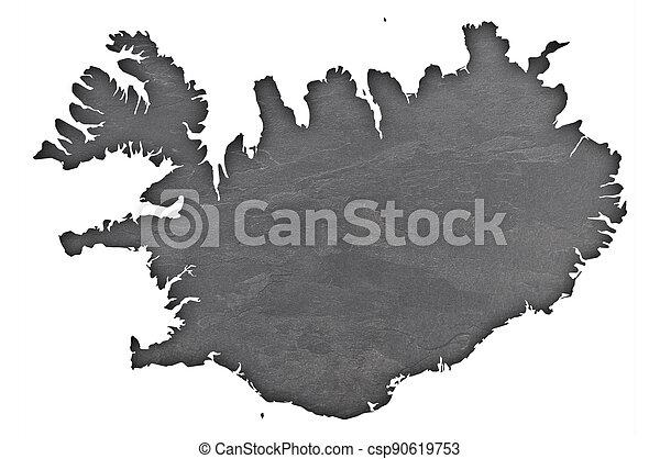 Map of Iceland on dark slate - csp90619753