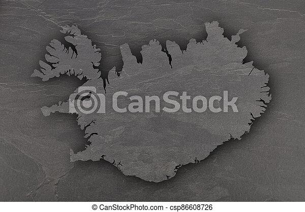 Map of Iceland on dark slate - csp86608726