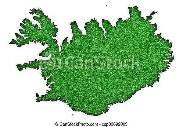 Map of Iceland on green felt - csp83692003