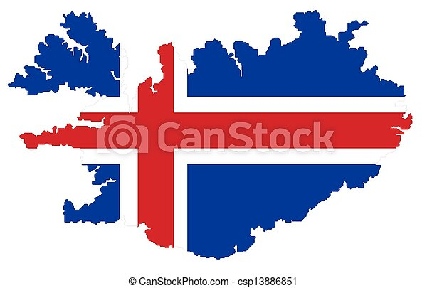 Map of Iceland with flag - csp13886851