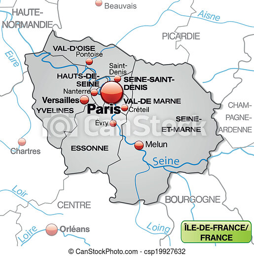 Map Of Yvelines France.Map Of Ile De France With Borders In Gray
