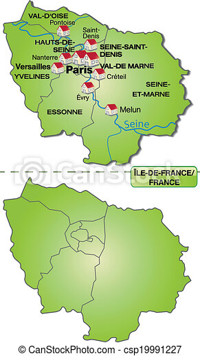 Map Of Yvelines France.Map Of Ile De France With Borders In Green