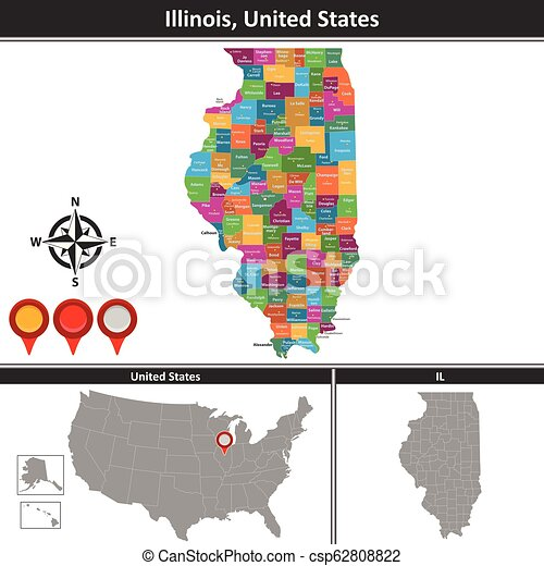 Map of illinois, us. Vector map of illinois with counties and ...