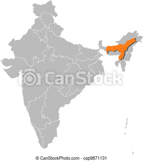 Map Of India Assam Highlighted Political Map Of India With The