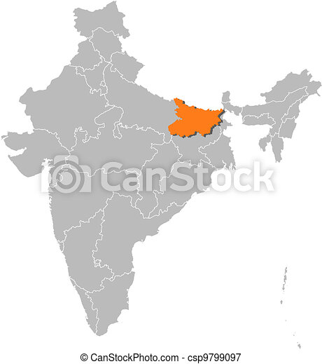 Map of india, bihar highlighted. Political map of india with the ...