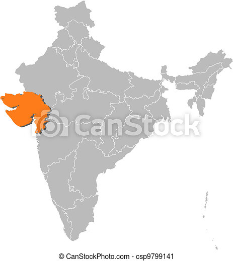 Map of india gujarat highlighted political map of india with the map of india gujarat highlighted csp9799141 gumiabroncs Choice Image