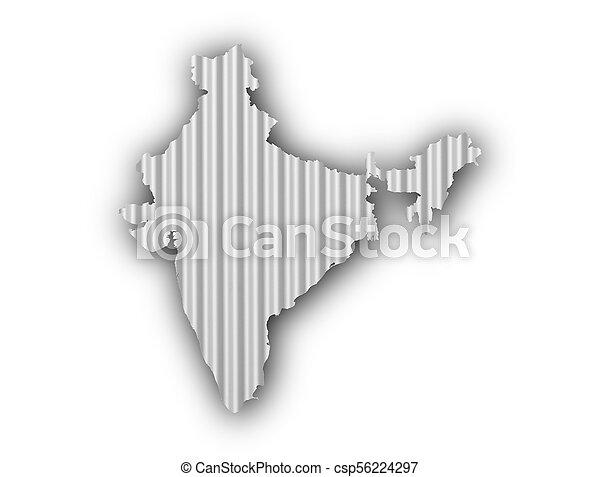 Map of India on corrugated iron - csp56224297