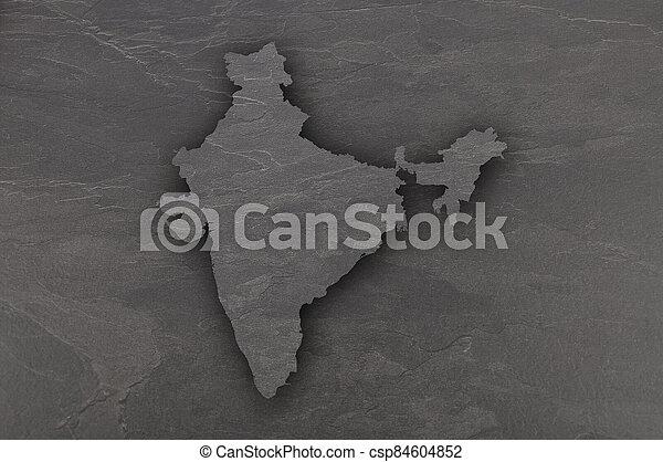 Map of India on dark slate - csp84604852