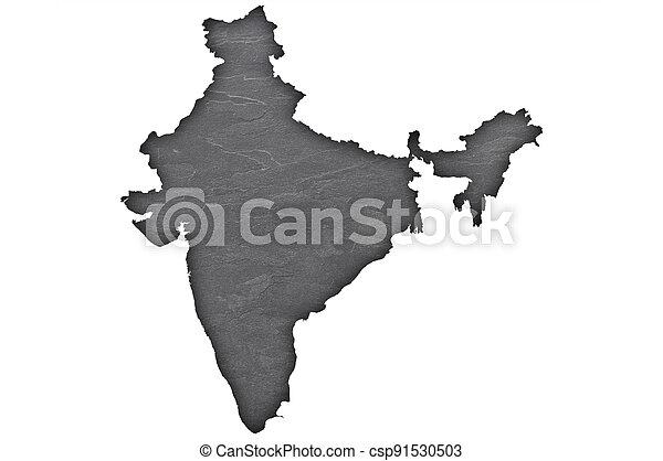 Map of India on dark slate - csp91530503