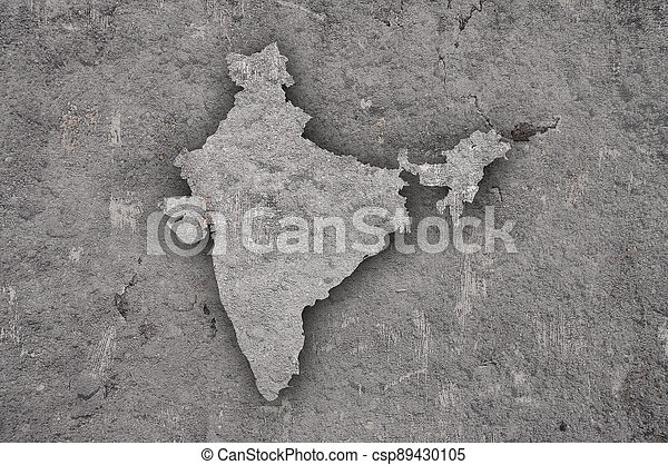 Map of India on weathered concrete - csp89430105