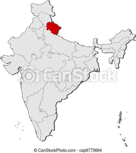 Map of india, uttarakhand highlighted. Political map of india with ...