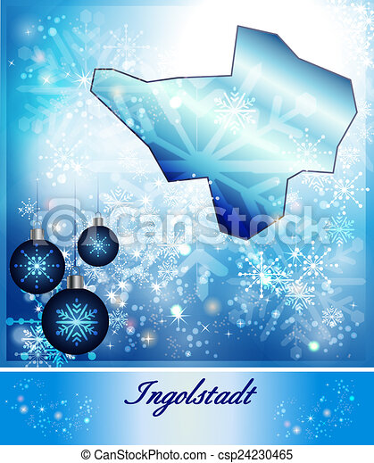 Map of ingolstadt in christmas design in blue stock illustration