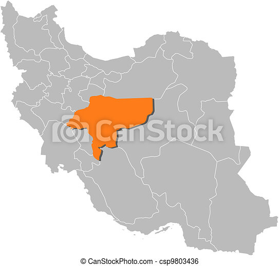 Map of Iran, Isfahan highlighted