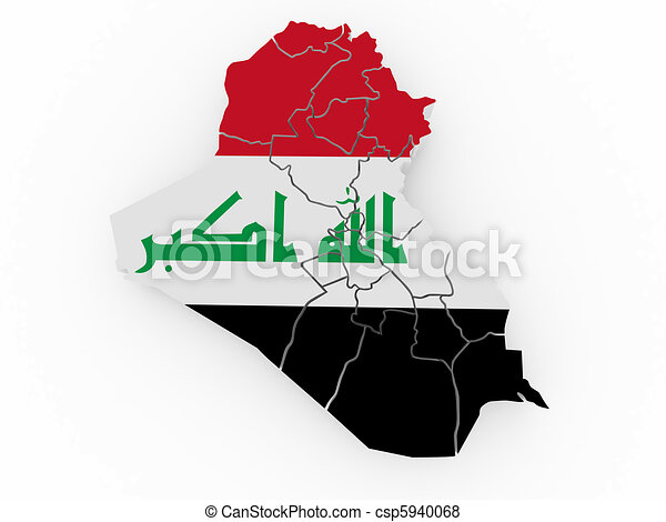 Map of Iraq in Iraqi flag colors - csp5940068
