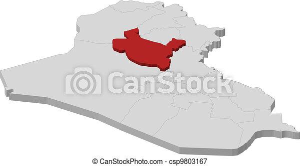 Map of Iraq, Salah ad Din highlighted - csp9803167