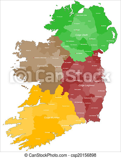 Detailed Map Of Ireland Vector.Map Of Ireland With Gaelic Letters