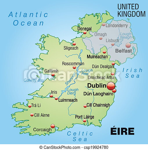 Galway Bay Ireland Map.Map Of Ireland As An Overview Map In Pastel Green