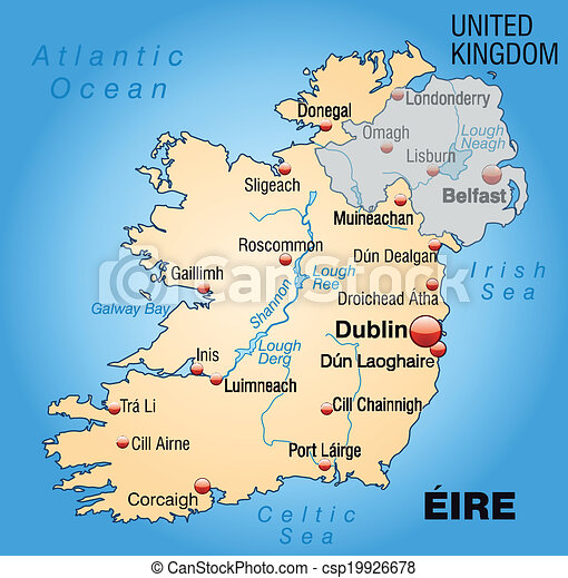 Galway Bay Ireland Map.Map Of Ireland As An Overview Map In Pastel Orange