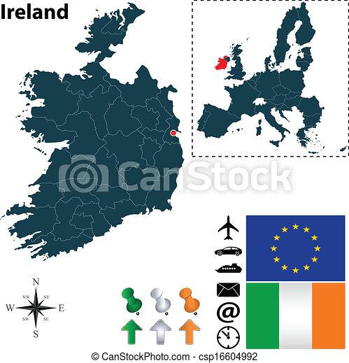 Map of Ireland with European Union - csp16604992