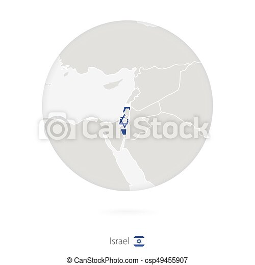 Map Of Israel And National Flag In A Circle. Israel Map Contour With Flag.  Vector Illustration.